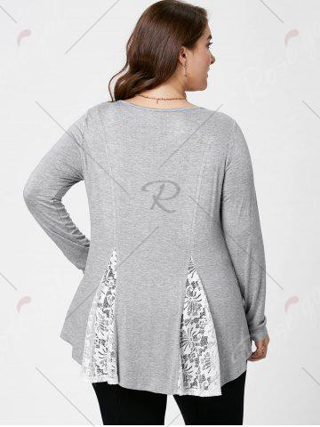 Store Plus Size Lace Panel Flare Top - XL LIGHT GREY Mobile