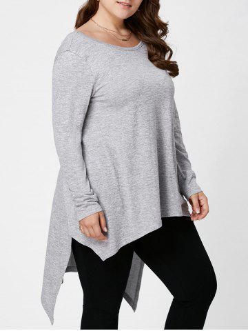 New Plus Size Long Sleeve High Low Top