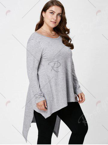 Affordable Plus Size Long Sleeve High Low Top - XL LIGHT GRAY Mobile