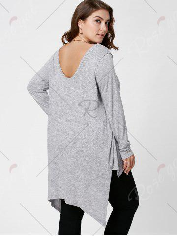 New Plus Size Long Sleeve High Low Top - XL LIGHT GRAY Mobile