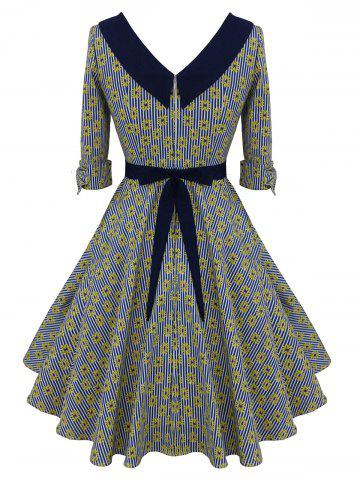 Shops Striped Floral Belted Bowknot Dress - XL COLORMIX Mobile