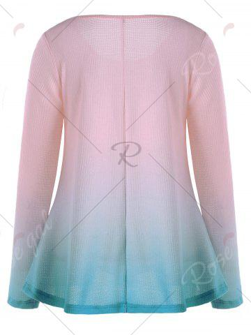 Online Knitted Long Sleeve Ombre T-shirt - M PINK Mobile