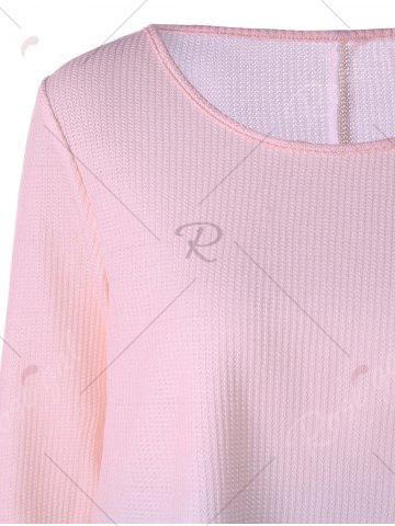 Trendy Knitted Long Sleeve Ombre T-shirt - M PINK Mobile