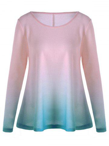 Knitted Long Sleeve Ombre T-shirt - Pink - 2xl