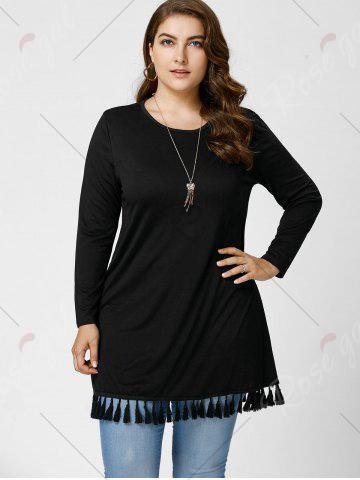 Discount Long Sleeve Tassel Plus Size Tunic Top - XL BLACK Mobile