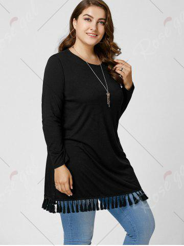 Affordable Long Sleeve Tassel Plus Size Tunic Top - XL BLACK Mobile