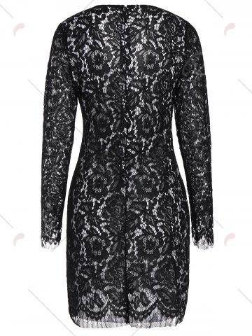 Outfit Criss Cross Plunging Neckline Lace Sheath Dress - M BLACK Mobile