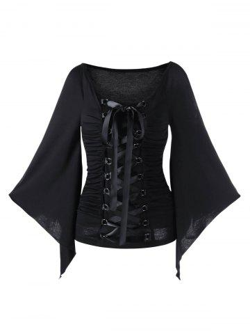 Latest Lace Up Ruched Flare Sleeve Top BLACK M