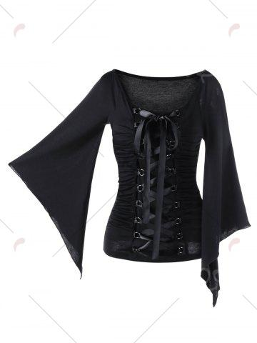 Affordable Lace Up Ruched Flare Sleeve Top - M BLACK Mobile