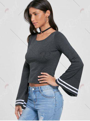 Affordable Lace Up Bell Sleeve Top - M MOUSE GREY Mobile