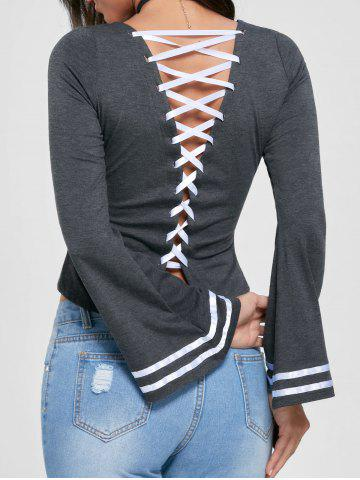 Lace Up Bell Sleeve Top - Mouse Grey - L