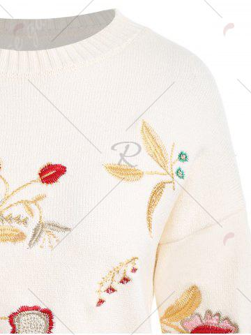 Hot Plus Size Drop Shoulder Floral Embroidered Sweater - ONE SIZE OFF-WHITE Mobile