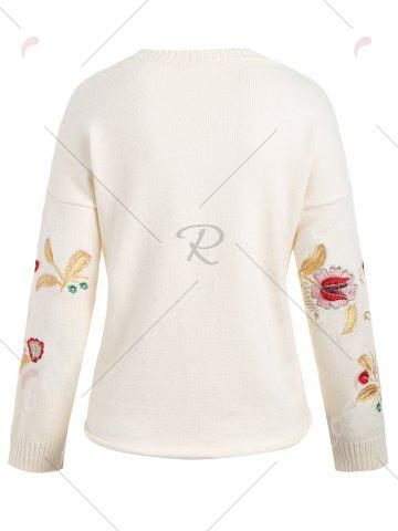 Buy Plus Size Drop Shoulder Floral Embroidered Sweater - ONE SIZE OFF-WHITE Mobile