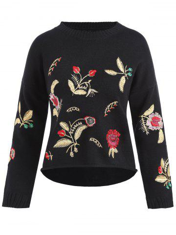 Chic Plus Size Drop Shoulder Floral Embroidered Sweater BLACK ONE SIZE