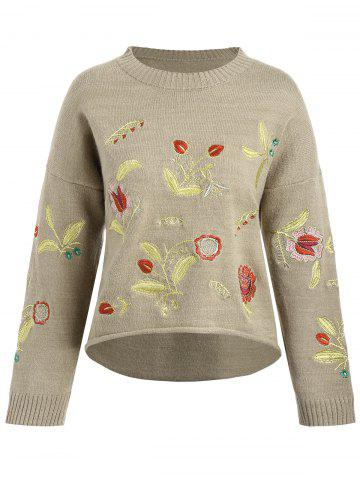 Sale Plus Size Drop Shoulder Floral Embroidered Sweater - ONE SIZE CAMEL Mobile