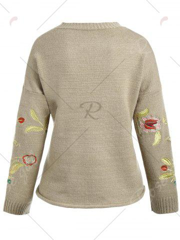 Chic Plus Size Drop Shoulder Floral Embroidered Sweater - ONE SIZE CAMEL Mobile