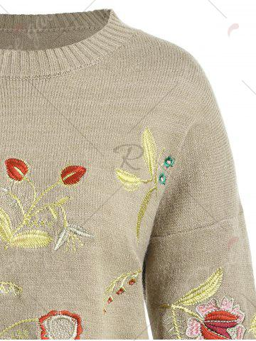 Latest Plus Size Drop Shoulder Floral Embroidered Sweater - ONE SIZE CAMEL Mobile