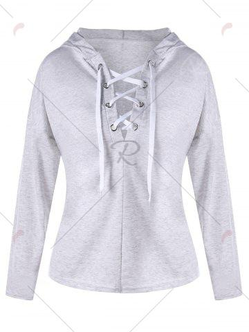 Outfit Drop Shoulder Heather Lace Up Hoodie - L LIGHT GRAY Mobile