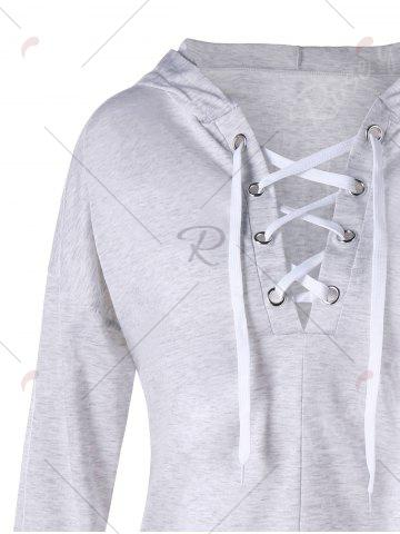 Trendy Drop Shoulder Heather Lace Up Hoodie - L LIGHT GRAY Mobile