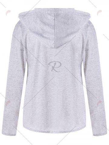 New Drop Shoulder Heather Lace Up Hoodie - L LIGHT GRAY Mobile