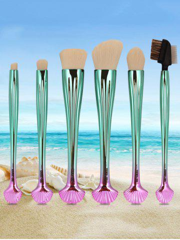 Fashion 6Pcs Plated Shell Facial Makeup Brushes Kit - WHITE AND GREEN  Mobile