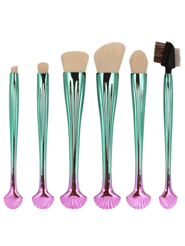 Cheap 6Pcs Plated Shell Facial Makeup Brushes Kit - WHITE AND GREEN  Mobile