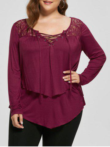 Fancy Plus Size Lace Trim Lace Up Top - XL PEARL AMARANTH Mobile