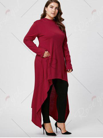 Sale Plus Size Asymmetric Long Sleeve Hooded T-shirt - 2XL WINE RED Mobile