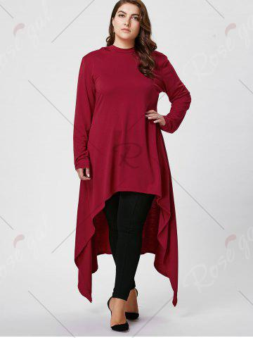 Cheap Plus Size Asymmetric Long Sleeve Hooded T-shirt - 2XL WINE RED Mobile