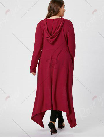 Online Plus Size Asymmetric Long Sleeve Hooded T-shirt - 2XL WINE RED Mobile