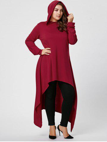 Plus Size Asymmetric Long Sleeve Hooded T-shirt - Wine Red - 3xl