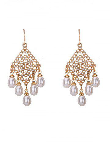 Trendy Faux Pearl Embellished Fish Hook Chandelier Earrings