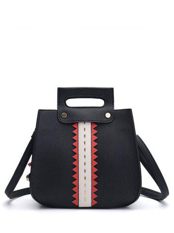 Fancy Colour Block Textured Leather Rivets Handbag - BLACK  Mobile