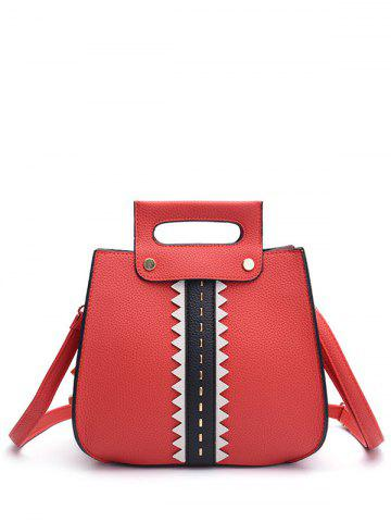 Store Colour Block Textured Leather Rivets Handbag