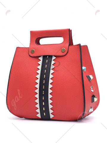 Buy Colour Block Textured Leather Rivets Handbag - RED  Mobile