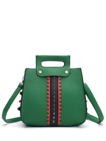 Unique Colour Block Textured Leather Rivets Handbag GREEN