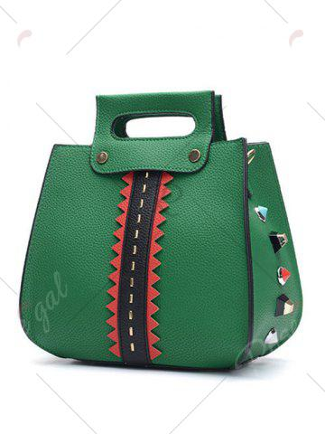 Fashion Colour Block Textured Leather Rivets Handbag - GREEN  Mobile