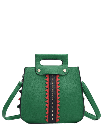 Discount Colour Block Textured Leather Rivets Handbag - GREEN  Mobile