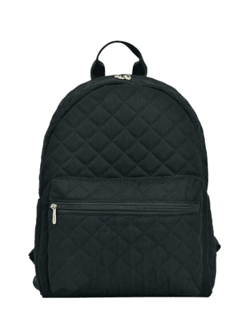 Fancy Quilted Zippers Backpack - BLACK  Mobile
