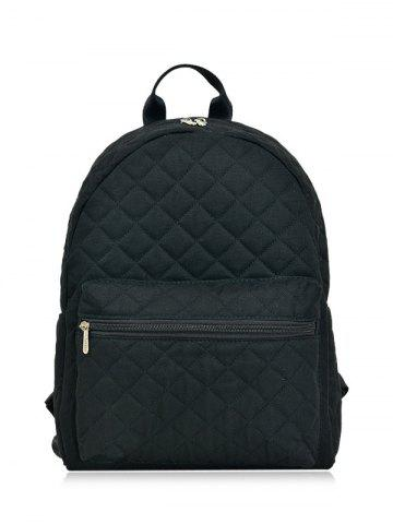 Latest Quilted Zippers Backpack BLACK