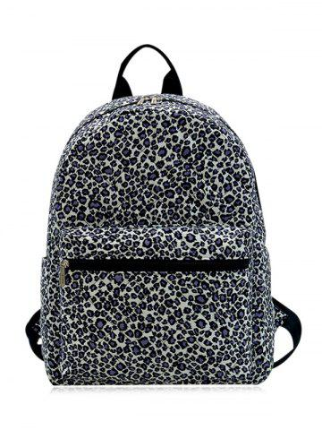 Outfits Quilted Zippers Backpack - BLACK LEOPARD PRINT  Mobile