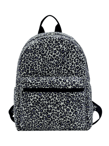 Trendy Quilted Zippers Backpack - BLACK LEOPARD PRINT  Mobile