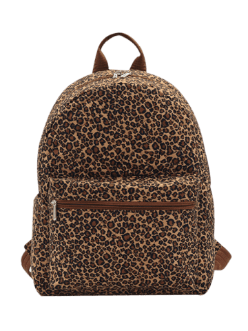Buy Quilted Zippers Backpack - BROWN LEOPARD  Mobile
