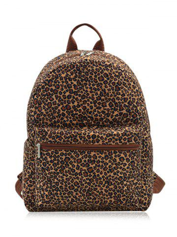 Fancy Quilted Zippers Backpack - BROWN LEOPARD  Mobile