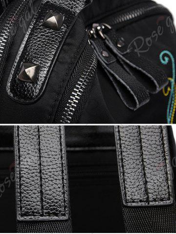 Store Nylon Embroidery Rivets Backpack - BLACK  Mobile