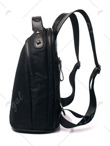 Outfits Nylon Embroidery Rivets Backpack - BLACK  Mobile