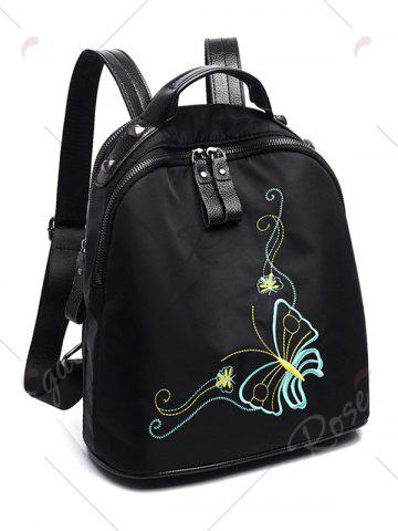 Latest Nylon Embroidery Rivets Backpack - BLACK  Mobile