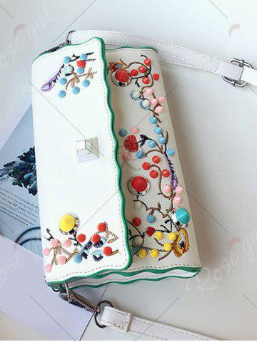 Hot Color Rivets Embroidery Crossbody Bag - OFF-WHITE  Mobile
