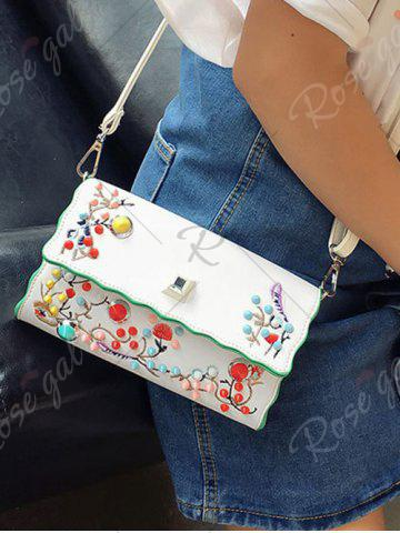 Outfit Color Rivets Embroidery Crossbody Bag - OFF-WHITE  Mobile