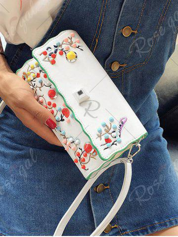 Latest Color Rivets Embroidery Crossbody Bag - OFF-WHITE  Mobile
